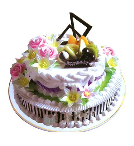 双层圆形水果蛋糕/春暖花香(上8+下12)