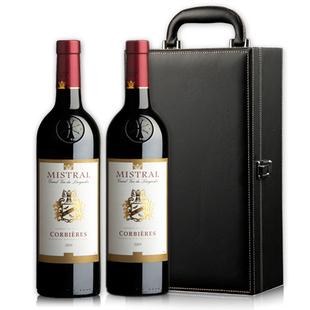 法国进口红酒米斯特罗可贝尔干红葡萄酒2支礼盒