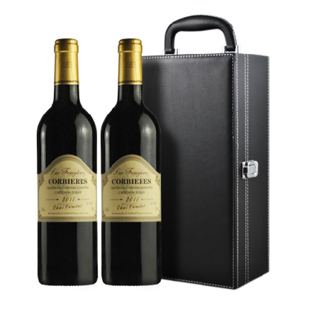 法国AOC进口红酒 富杰庄园 干红葡萄酒750ml*2 高端双支礼盒装
