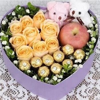 圣诞节鲜花/9枝香槟玫瑰
