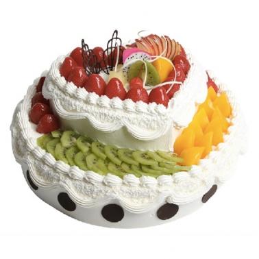 双层圆形水果蛋糕/蜜恋时光(上8+下12)
