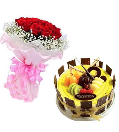 鲜花蛋糕组合/11朵红玫瑰+水果巧克力蛋糕(11朵+8寸)