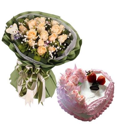 鲜花蛋糕组合/11朵香槟玫瑰+心形鲜奶蛋糕8寸