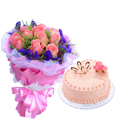 鲜花蛋糕组合/粉玫瑰+心形奶油蛋糕(11枝+8寸)