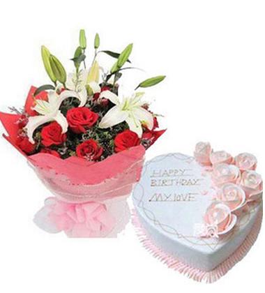 �r花蛋糕�M合/12朵玫瑰,2枝多�^白香水百合+10寸�r奶蛋糕)