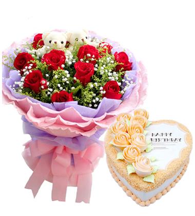 鲜花蛋糕组合/红玫瑰+心形奶油蛋糕(11枝+10寸)