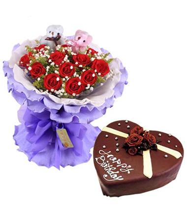 �r花蛋糕�M合/11朵�t玫瑰+巧克力心形蛋糕8寸