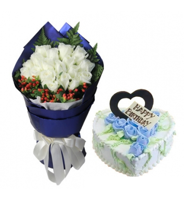 鲜花蛋糕组合/白玫瑰+心形鲜奶蛋糕(19枝+8寸)