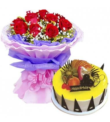 鲜花蛋糕组合/白玫瑰+心形鲜奶蛋糕(11枝+8寸)