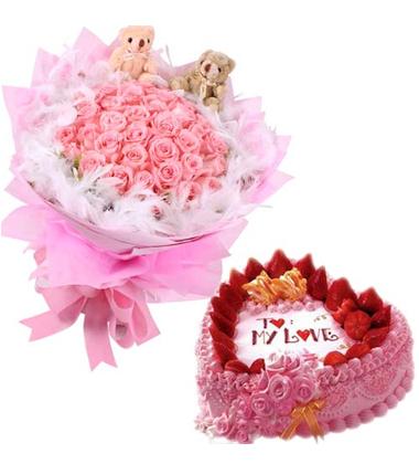 鲜花蛋糕组合/19朵粉玫瑰+水果鲜奶心形蛋糕8寸