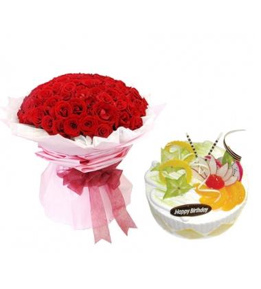 鲜花蛋糕组合/99枝红玫瑰+水果蛋糕(99枝+8寸)