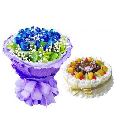 鲜花蛋糕组合/蓝玫瑰+水果蛋糕(16枝+8寸)