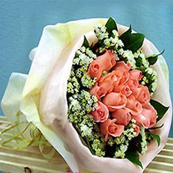 16朵粉玫瑰/温情绽放