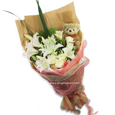 5朵白玫瑰/百合情缘